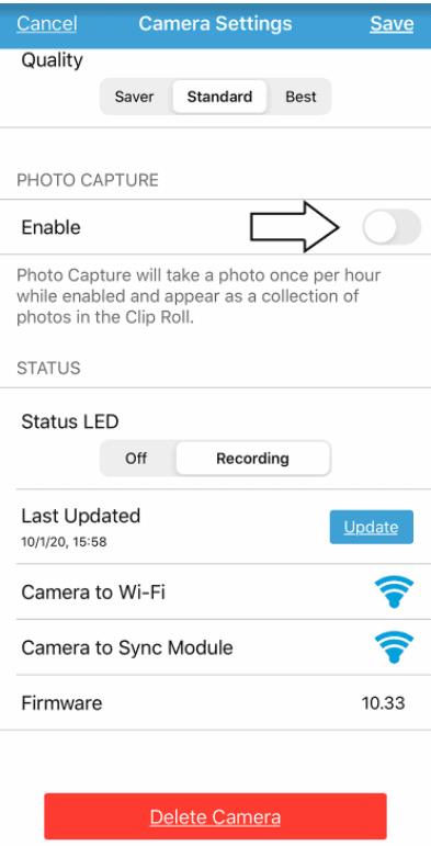 blink app photo capture feature