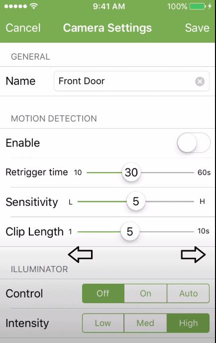 blink camera motion trigger settings